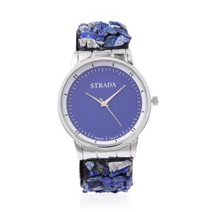 STRADA Japanese Movement Water Resistant Watch in Silvertone with Lapis Lazuli Chips Strap and Stainless Steel Back TGW 75.00 cts.