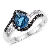 London Blue Topaz, Cambodian Zircon, Thai Black Spinel Platinum Over Sterling Silver Ring (Size 9.0) TGW 2.38 cts.