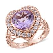 Dan's Jewelry Selections Rose De France Amethyst, Cambodian Zircon Vermeil RG Over Sterling Silver Heart Ring (Size 7.0) TGW 6.96 cts.