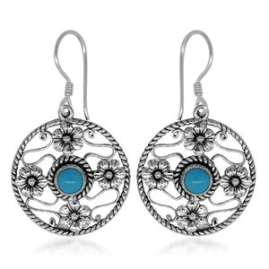 Bali Legacy Collection Arizona Sleeping Beauty Turquoise Sterling Silver Floral Engraved Openwork Dangle Earrings TGW 1.46 cts.