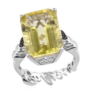 GP Brazilian Green Gold Quartz, Thai Black Spinel Platinum Over Sterling Silver Ring (Size 7.0) TGW 14.30 cts.