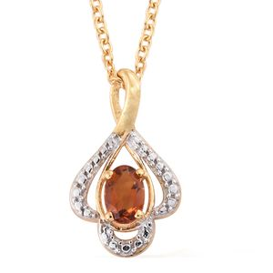 Santa Ana Madeira Citrine 14K YG Over Sterling Silver Pendant With ION Plated YG Stainless Steel Chain (20 in) TGW 0.40 cts.