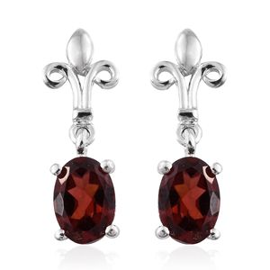 Mozambique Garnet Platinum Over Sterling Silver Earrings TGW 1.82 cts.