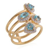 Paraiba Apatite, Cambodian Zircon 14K YG Over Sterling Silver Ring (Size 8.5) TGW 1.90 cts.