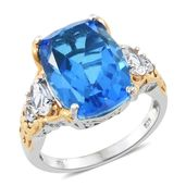 Caribbean Quartz, White Topaz 14K YG and Platinum Over Sterling Silver Ring (Size 7.0) TGW 11.55 cts.