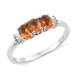 Salamanca Fire Opal, Diamond Platinum Over Sterling Silver Ring (Size 7.0) TDiaWt 0.06 cts, TGW 0.72 cts.
