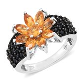 Salamanca Fire Opal, Thai Black Spinel Black Rhodium and Platinum Over Sterling Silver Flower Ring (Size 6.0) TGW 3.23 cts.