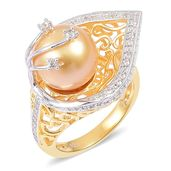 Deepak's Dazzling Deals South Sea Golden Pearl (10-11 mm), White Zircon 14K YG and Platinum Over Sterling Silver Leaf Ring (Size 11.0) TGW 0.50 cts.