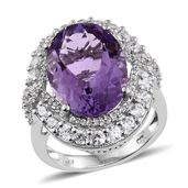 Dan's Jewelry Selections Rose De France Amethyst, Cambodian Zircon Platinum Over Sterling Silver Ring (Size 7.0) TGW 13.06 cts.