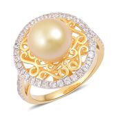 South Sea Golden Pearl (10-10.5 mm), White Zircon 14K YG Over Sterling Silver Openwork Ring (Size 7.0) TGW 1.15 cts.