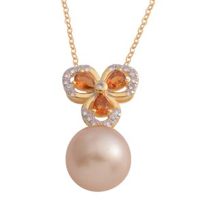 South Sea Golden Pearl (11-12 mm), Santa Ana Madeira Citrine 14K YG Over Sterling Silver Floral Drop Pendant With Chain (18 in) TGW 0.60 cts.