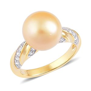 South Sea Golden Pearl (11.5-12 mm), White Zircon 14K YG Over Sterling Silver Ring (Size 6.0) TGW 0.50 cts.
