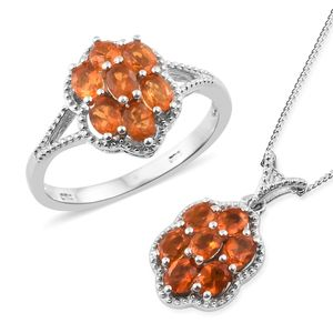 Salamanca Fire Opal Platinum Over Sterling Silver Ring (Size 6) and Pendant With Chain (20 in) TGW 1.67 cts.