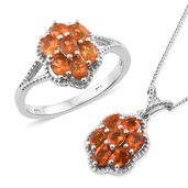 Salamanca Fire Opal Platinum Over Sterling Silver Ring (Size 8) and Pendant With Chain (20 in) TGW 1.67 cts.