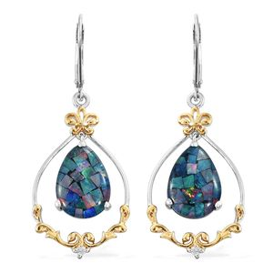 Australian Mosaic Opal, Cambodian Zircon 14K YG and Platinum Over Sterling Silver Lever Back Dangle Earrings TGW 8.22 cts.