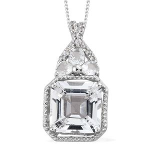 Asscher Cut White Topaz Platinum Over Sterling Silver Pendant With Chain (20 in) TGW 5.16 cts.