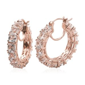 Asscher Cut White Topaz Vermeil RG Over Sterling Silver Hoop Earrings TGW 12.68 cts.