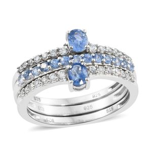 Ceylon Blue Sapphire, Cambodian Zircon Platinum Over Sterling Silver Stackable Rings (Size 7.0) TGW 1.56 cts.