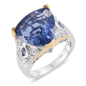 Color Change Fluorite, Catalina Iolite, Cambodian Zircon Platinum Over Sterling Silver Ring (Size 6.0) TGW 12.51 cts.
