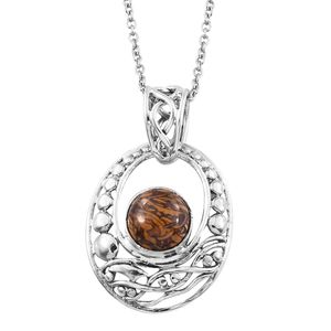 Artisan Crafted Indian Script Stone Sterling Silver Pendant With Stainless Steel Chain (20 in) TGW 2.80 cts.