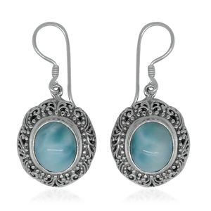 Bali Legacy Collection Larimar Sterling Silver Dangle Earrings TGW 11.20 cts.