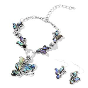 Abalone Shell, White Austrian Crystal Black Oxidized Iron, Stainless Steel Butterfly Bracelet (7.50 In) and Earrings TGW 30.40 cts.