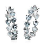 Espirito Santo Aquamarine Platinum Over Sterling Silver Heart Cut Inside Out Hoop Earrings TGW 8.25 cts.