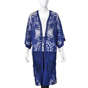 Navy 80% Viscose & 20% Polyester Floral Pattern Long Kimono (21.26x40.16 in)