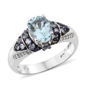 Espirito Santo Aquamarine, Tanzanite, Cambodian Zircon Platinum Over Sterling Silver Ring (Size 10.0) TGW 2.41 cts.