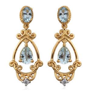 Premium AAA Espirito Santo Aquamarine, Cambodian Zircon Vermeil YG Over Sterling Silver Dangling Drop Earrings TGW 1.96 cts.