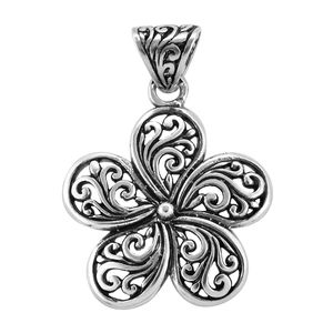 Bali Legacy Collection Sterling Silver Swirl Flower Pendant without Chain (3.8 g)