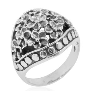 Bali Legacy Collection Sterling Silver Floral Knuckle Ring (Size 8.0)