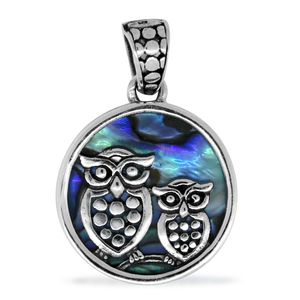 Bali Legacy Collection Abalone Shell Sterling Silver Owls Pendant without Chain