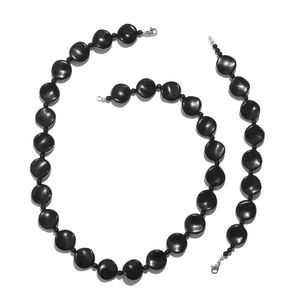 Black Agate Silvertone & Stainless Steel Bracelet (7.50 in) and Necklace (20.00 In) TGW 279.98 cts.