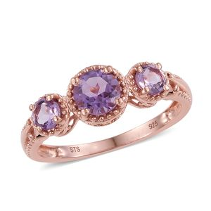 Rose De France Amethyst 14K RG Over Sterling Silver Trilogy Ring (Size 8.0) TGW 1.25 cts.