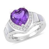 Lusaka Amethyst, White Mother of Pearl, White Zircon Sterling Silver Ring (Size 9.0) TGW 3.30 cts.