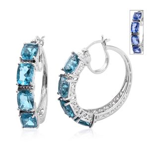 Color Change Fluorite Platinum Over Sterling Silver Hoop Earrings TGW 19.26 cts.