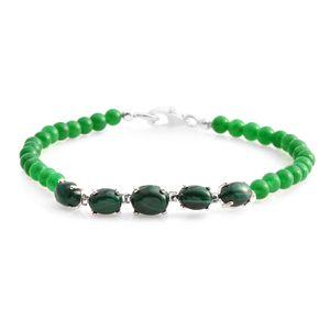 Malachite, Green Quartzite Sterling Silver Bracelet (7.50 In) TGW 4.90 cts.