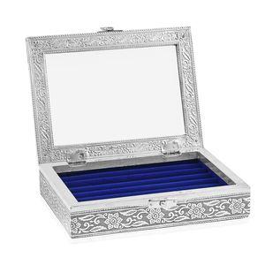 Blue Glass in Velvet lining Aluminum Artware MDF Jewellry box (6x8 in)