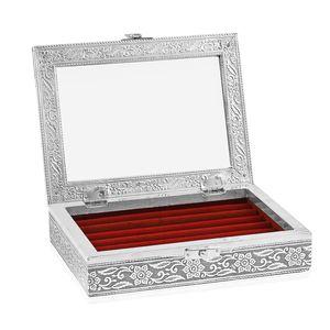 Red Glass in Velvet lining Aluminum Artware MDF Jewellry box (6x8 in)