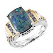 Australian Mosaic Opal, Tanzanite 14K YG and Platinum Over Sterling Silver Ring (Size 6.0) TGW 5.00 cts.