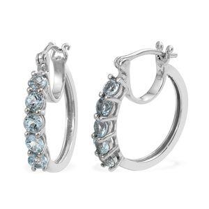 KARIS Collection - Sky Blue Topaz Platinum Bond Brass Hoop Earrings TGW 2.16 cts.