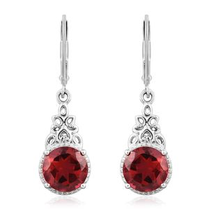 KARIS Collection - Blazing Red Quartz Platinum Bond Brass Lever Back Earrings TGW 4.36 cts.