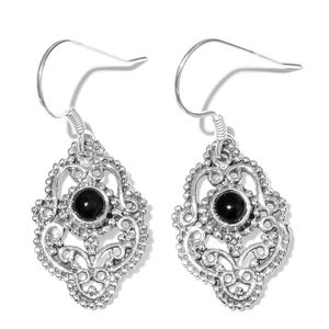 Artisan Crafted Black Onyx Sterling Silver Earrings TGW 0.55 cts.