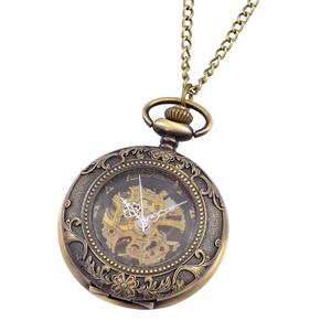 GENOA Miyota Japanese Movement Brasstone Mechanical Pocket Watch with Chain (32 in)
