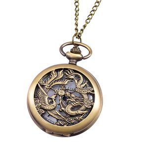 STRADA Japanese Movement Water Resistant Goldtone Dragon and Phoenix Pocket Watch With Chain (31 in)