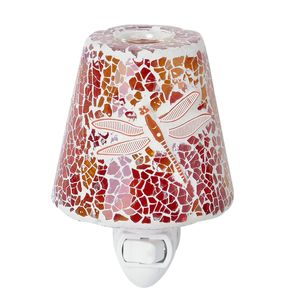 Red and Yellow Dragonfly Pattern Mosaic Glass Night Light (4.5x1.5 in)
