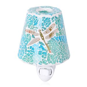 Blue and Green Dragonfly Pattern Mosaic Glass Night Light (4.5x1.5 in)