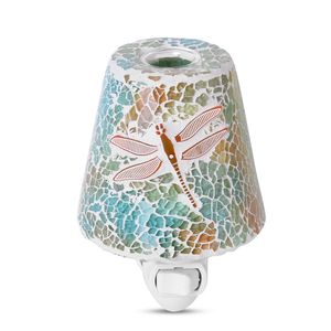 Blue and Orange Dragonfly Pattern Mosaic Glass Night Light (4.5x1.5 in)