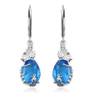 Caribbean Quartz, Cambodian Zircon Platinum Over Sterling Silver Earrings TGW 7.94 cts.